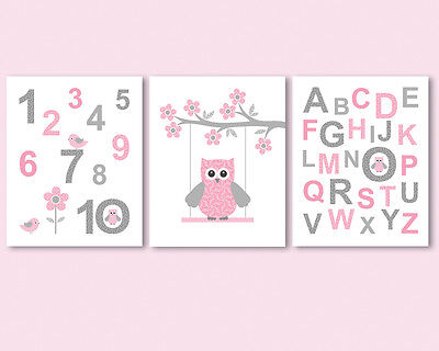 Set of 3 prints / posters for nursery, girl room - alphabet, ABC, numbers, owl