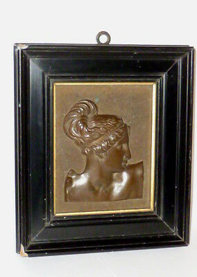 Antiguo Bronce Cuadro en relieve Mural de pared figura Busto Alivio Medio