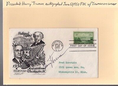 HARRY S TRUMAN - FIRST DAY COVER SIGNED 1950 very First Day Issue JSA Letter