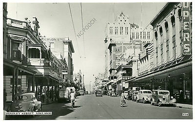 vintage postcard real photo Hindley St Adelaide South Australia old cars Hoopers