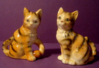 Vintage stripped Orange Tabby Cat Salt and Pepper Shakers Made in Japan