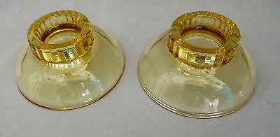 Pair Of Duncan & Miller Amber Candle Holders