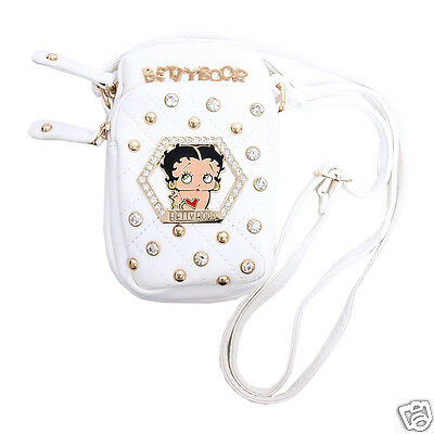 """Betty Boop Rhinestone Cell Phone Case Handbag 5"""" x 8""""H Two Pockets King Features"""