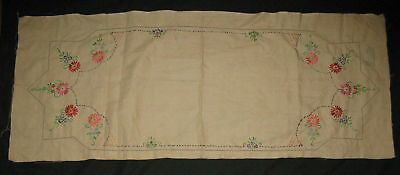 Vintage 1930s BUSY HOUR Embroidered FLOWERS Table RUNNER  Floral Unused
