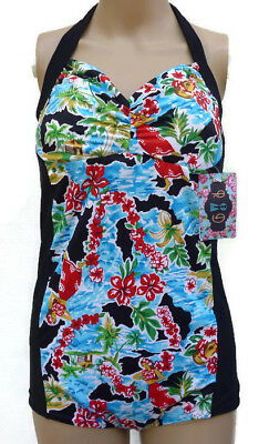 NEW Retro Vintage Inspired Playsuit Swimsuit Unique Size 12 Pin-Up Floral