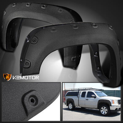 Rugged Textured 2007-2013 GMC Sierra 1500 Bolt On Pocket Rivet Fender Flares 4PC