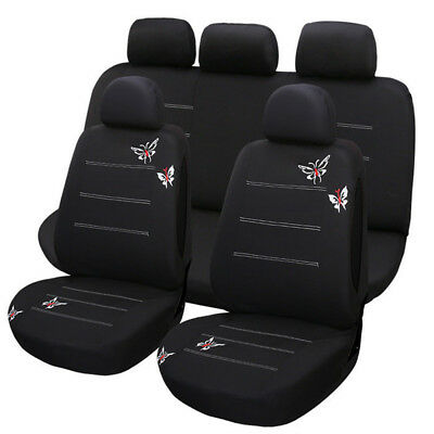 11 Pcs Universal Car Butterfly Embroidery Car Seat Cover Set Polyester Fabric
