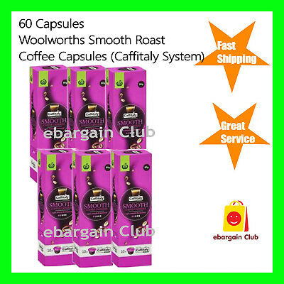 60 Capsules Woolworths Smooth Roast Coffee Capsule Pod Caffitaly System eBC