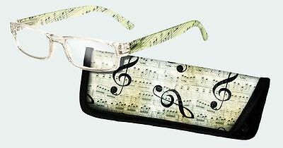 Spoontiques Reading Glasses w/  Matching Case Music