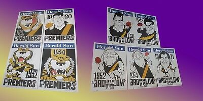 Weg Poster Set Richmond Tigers Premiership 1920 ~1934 & Brownlow 1930 ~ 1971