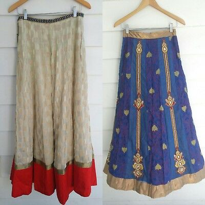 Lot of 2 Ashi Indian Women Blue Red Champagne Ethnic Skirt Long Party Wear