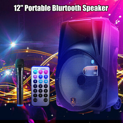 12'' Portable Bluetooth DJ Speaker PA System Power Amplifier TF USB AUX input