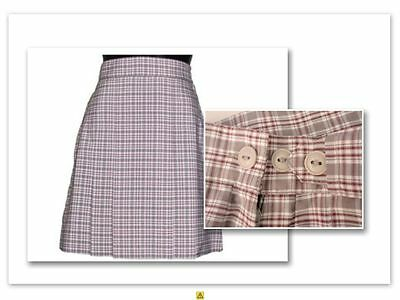 Bnwt Size 10 Girls Grey Maroon Check School Wear Skirt Summer -  Cummins Dz