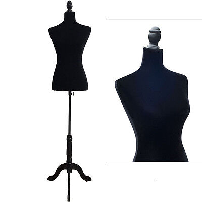 Black Female Mannequin Torso Model Dress Form Display W/ Black Tripod Foam