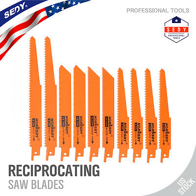 Reciprocating Saw Blades | 10pc Set Electric Sawzall Hackzall Metal Wood 1/2""