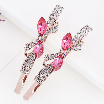 1 Pairs Edge Clamp Butterfly Hair Clip Barrette Hairpin Crystal Rhinestone