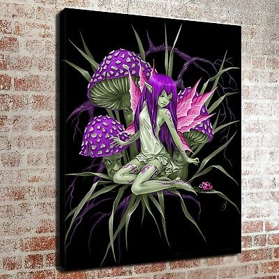 "The Mushroom Fairy painting12""x16"" HD Print on Canvas Home Decor Room Art Poster"