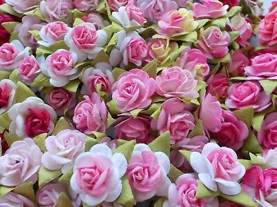 100! Lovely Mulberry Paper Roses 10/15mm Beautiful Pink Mix Rose Embellishments!