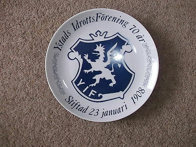 Ystads Idrotts Forening (Sweden) football ceramic plate 1978 by Riges.