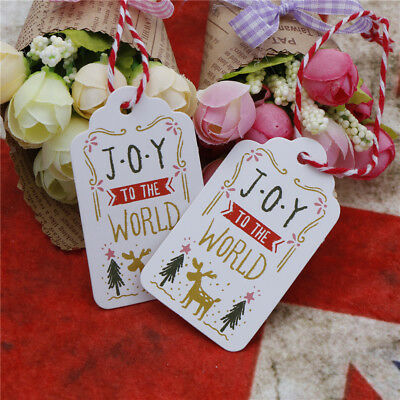 50PCs Merry Christmas Gift Cards Kraft Paper tag Marker joy to the world Tag