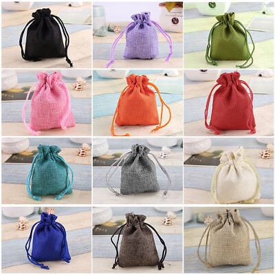 50X Burlap Linen Jute Bag Sack Jewelry Pouch Drawstring Wedding Gift Xmas Favor