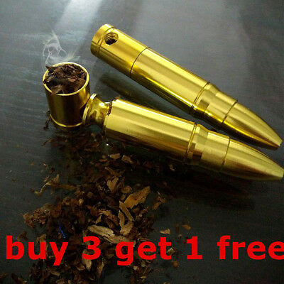 NEW Stylish Mini Portable Gold Pipe Bullet Shape Pipe for Herb Filtering Filth