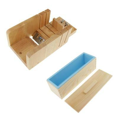 Wooden Box Loaf Soap Cutter Trimmer + Rectangle Silicone Soap Mold DIY Set