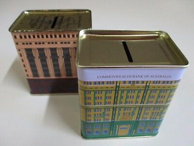 Set of Two Replica Vintage Commonwealth Bank Tin Money Boxes - Green and Brown