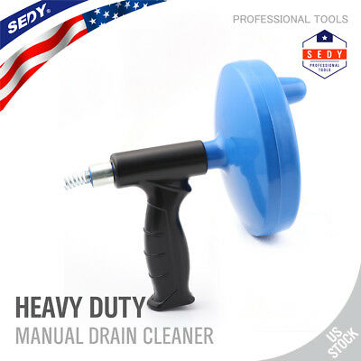25' Hand Crank Or Drill Operated Powered Plumbing Drain Cleaner Snake Auger Tool