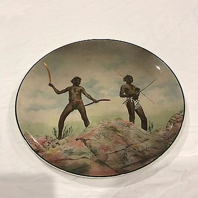 royal doulton plate aborigines with hunting weapons d6421