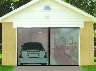 Ideaworks Single Garage Door Screen New Black 8' x 7' High Quality Nylon Mesh