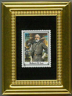 Robert E Lee Confederate Iconic General A Glass Framed Postage Masterpiece Gift
