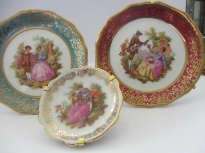 Three Limoges Miniature Decorative Plates Signed Stands included