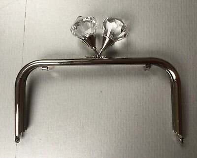 Metal Handbag Frame, Kiss Clasp, Silver Colour With Jewel Detail