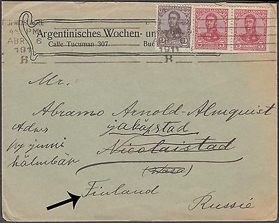 Argentina Rare Cover To Nicolaistad Redirected To Jakobstad Finland Russia Rare