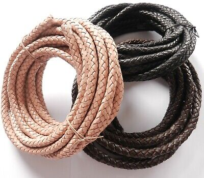 8Mm Thick Braided Cowhide Leather Cord Top Quality Black Or Brown