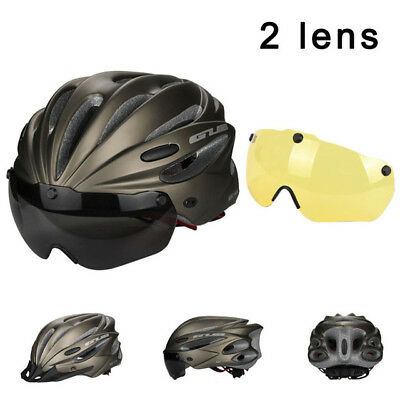 Magnetic Goggles Cycling Helmet  Bicycle Bike Helmet With Lens & Sunvisor