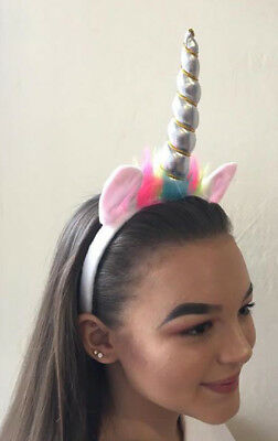 Unicorn Horn and Ears pink or silver on a Headband Hair Band Dress Up Great Gift
