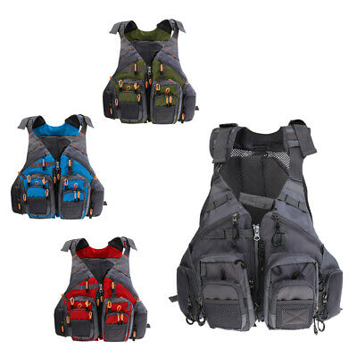 Multi-pocket Fishing Floating Vest Adjustable Mesh Fishing Vest Backpack