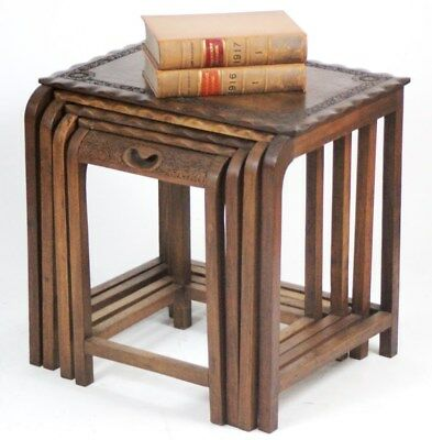 Vintage Carved Walnut Quartetto Nest of 4 Tables - FREE Shipping [PL668]