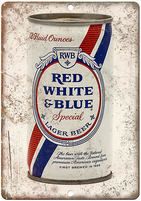 """Vintage Beer Can Red, White & Blue Lager 10"""" x 7"""" reproduction metal sign"""