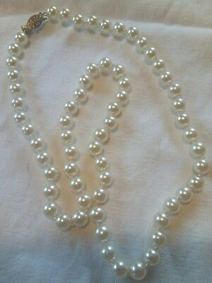 """Vintage signed Monet 23"""" single strand faux pearls tied 8mm"""