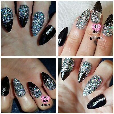 Black and Silver HOLOGRAPHIC Stiletto Nails x 20 Pure Sparkly PARTY Nails