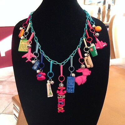 vintage 80s plastic bell charm necklace