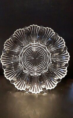 Vintage Anchor Hocking Glass Deviled Egg Plate Clear Pressed 10 Inch Dish Tray