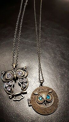 Lot of 2 bronze Vintage OWL necklaces, locket sweater chains bronze brass