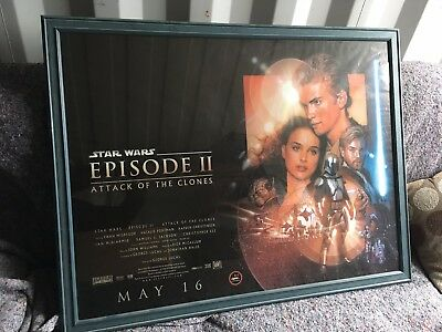 Star Wars Attack Of the Clones Quad Cinema Poster Framed Original