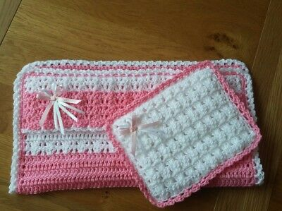 Doll / teddy pram set Pink / white. Xmas gift. Crochet  Other colours available