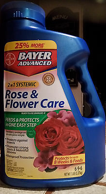 Bayer Advanced 2-in-1 Rose and Flower Care Fertilizer Insect Control 6-9-6 5 lbs