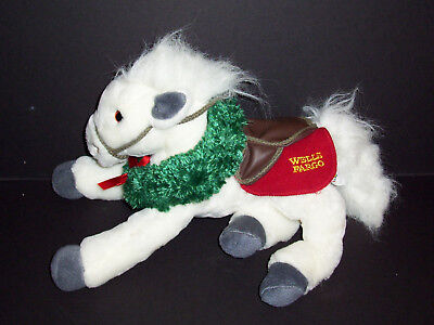 Wells Fargo Grace White Horse Pony Wreath Advertising Xmas Plush Stuffed 2003